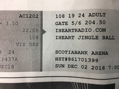 photo of jingle ball ticket