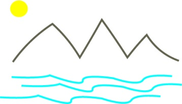 sketch of mountain and water